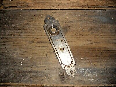 Vtg Old Antique Rustic Chromed Steampunk Art Deco  Rustic Door Knob Backplate