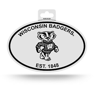 Wisconsin Badgers Oval Decal Sticker NEW!! 3x5 Inches Free Ship Black & White