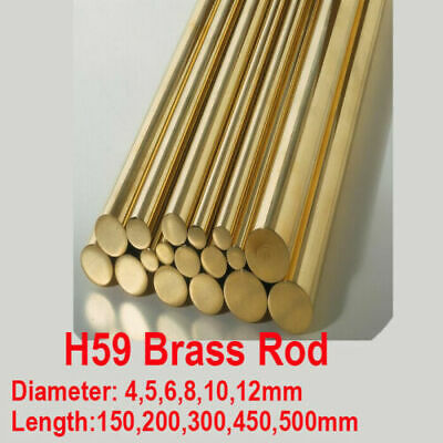 H59 Brass Rod Copper Round Bar Solid Shaft 4 5 6 8 10mm 150/200/450/500mm Long