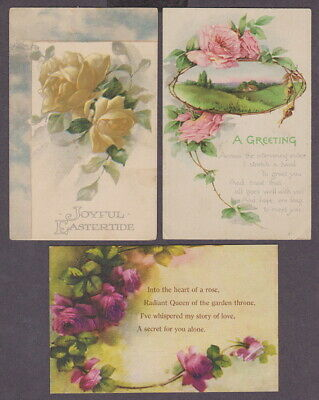 3 Greetings Antique Postcards Beautiful Pink Red Yellow Roses