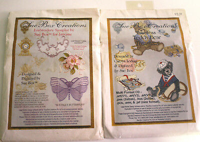 Lot of 2 Sue Box Creations Machine Embroidery CDs Teddy Bears and Sampler