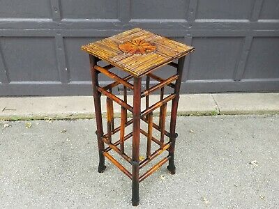 Antique 19th C Victorian Asian Chinoiserie Adirondack Bamboo Plant Stand table