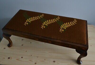 Vintage wood and tapestry extra long footstool