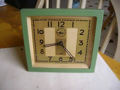 Rare LSM vintage metal alarm clock, heavy, Made in Scotland from 1940s.