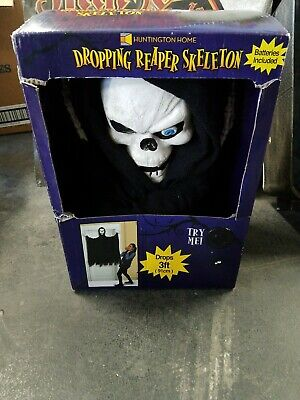 NEW ANIMATED Skeleton REAPER SKULL FACE DROPPING SCREAMING PROP Halloween 4 feet
