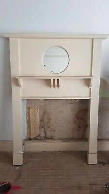 Old Original Victorian Edwardian Pine Fireplace Fire Surround Mantel With Mirror