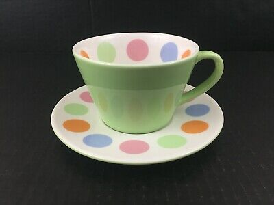2006 Starbucks Coffee Cafe Cup & Saucer GREEN Multi-color POLKA DOT MCM Style