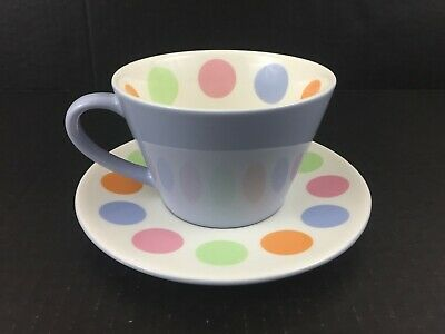 2006 Starbucks Coffee Cafe Cup & Saucer Lilac Multi-color POLKA DOT MCM Style