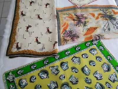 vintage /Antique Unbranded silk scarves lot Of Four   Time Clock Egyptian  Flora