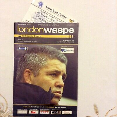 Rugby Union Programme Wasps V Leicester Tigers On 31/03/2002