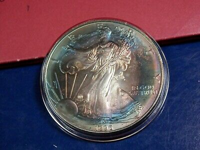 1996 American SILVER EAGLE Dollar MONSTER  TONED Key Date