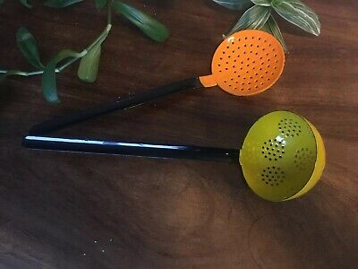 Vintage 60's Enamelled Ladle And Strainer Orange+yellow black Made In Poland