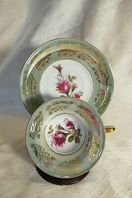 Royal Sealy China Japan Lusterware Cup Saucer Moss Rose Green Gold