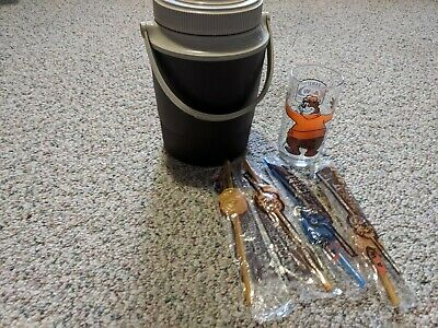 Vintage A&W Thermos Cooler, 1 A&W Bear Glass & 4 Straws
