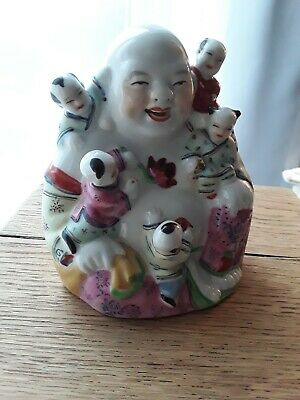 Vintage Oriental Chinese Famille  Rose Porcelain Buddha Figurine/Statue