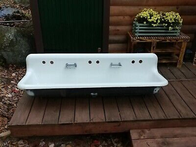 RARE Vintage 5' Farm Trough Sink Porcelain Enamel cast iron American Standard