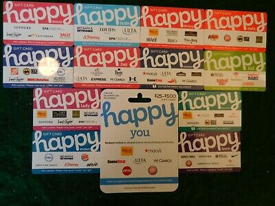 Lot Of Thirteen (13) All Different Collectible Only *Happy Card* Gift Cards