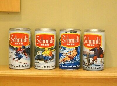 Vintage Breweriana Schmidt Beer Cans Set of 4, Ice Fishing, Skiing, Snowmobiling
