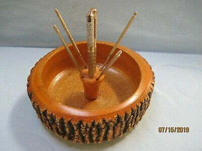 Vintage Wooden Nut Bowl Made From Tree with Bark