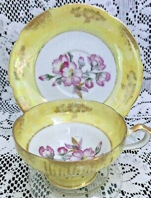 Royal Sealy China Yellow Lusterware Petite Cup & Saucer, Pink Flowers, Japan