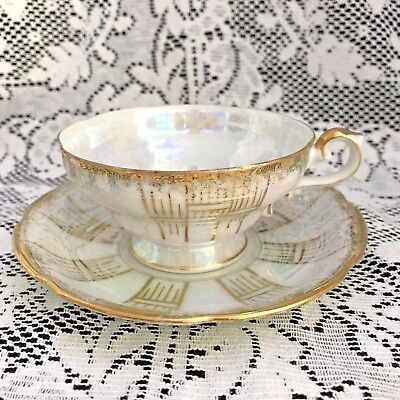 Vintage Royal Sealy China, Lusterware and Gold Tea Cup & Saucer, Made In Japan