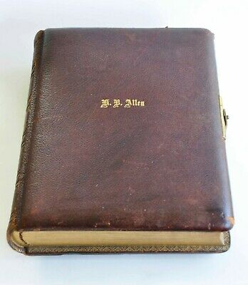 Antique Leather Bound For 36 Cabinet Cards Album Great Locking Closer,Empty