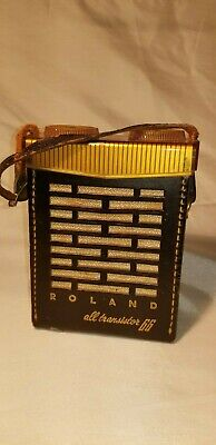 Rare Vintage Roland All Transistor 66 Radio Top Grain Genuine Cowhide Cover