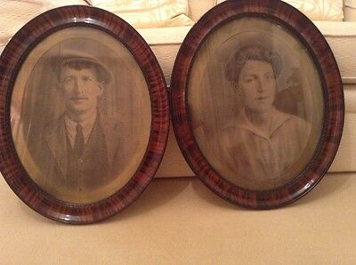 A Pair Antique Victorian Mahogany Oval Picture Frames Portraits (Peaky Blinders)