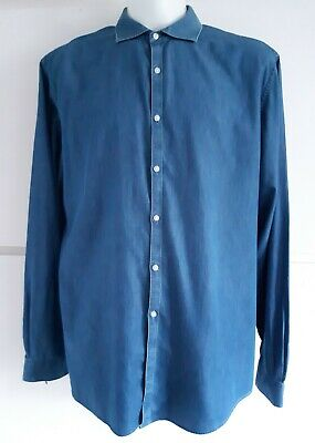 """Mens Marks & Spencer Denim 100% Cotton Chambray Casual Shirt Size XL 18"""" X-Large"""