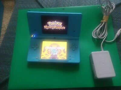 Nintendo DSi game system Light Blue, teal with Charger & Pokemon Mystery Dungeon
