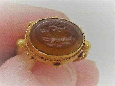 Scarce Roman Gold Ring High Carat Gold Agate Intaglio Depiction Of Mythic Beast