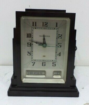 Old Antique Art Deco Bakelite Hammond Skyscraper Electric Clock Vintage