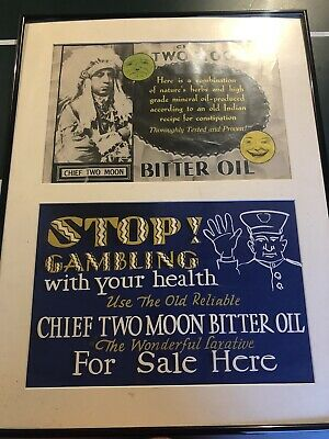 Vintage CHIEF TWO MOON Herb. Co. Medicine Ad  Bitter Oil Laxative Waterbury, CT