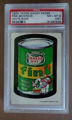 """1973 topps wacky packages 1st series """"Fink"""" PSA graded NM-MT 8(oc)"""