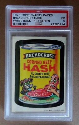 """1973 Topps wacky packages 1st series """"Bread Crust Hash"""" PSA 5"""