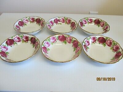 "6 Cereal Or Soup Bowls ""Old English Rose"" Royal Albert Bone China England"