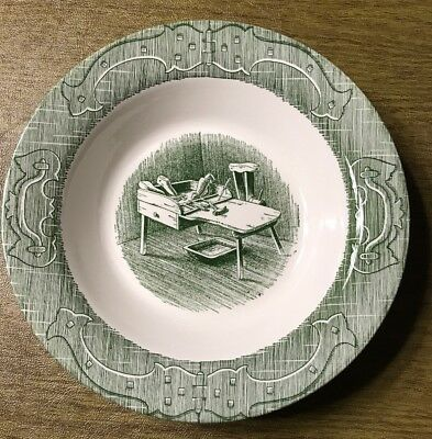 "The Old Curiosity Shop Green White Royal China 9"" Serving Bowl"
