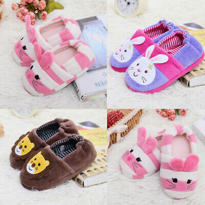 Toddler Infant Kids Baby Warm Shoes Boys Girls Cartoon Soft-Soled Slippers US