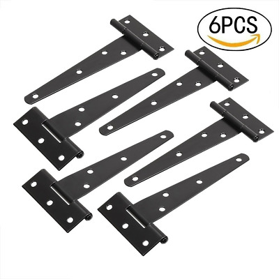 6 Pieces 5Inch T-Strap Shed Hinge Gate Strap Heavy Duty Hinge Door Barn