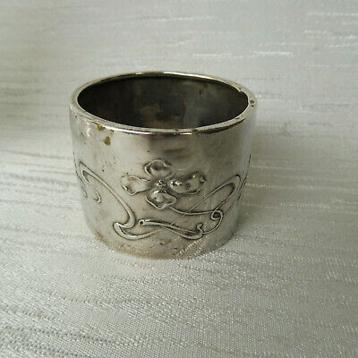 Antique Hallmarked Silver Art Nouveau Monogrammed Napkin Ring