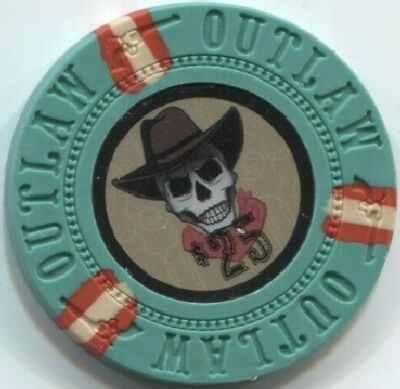 (25) Great for POKER BOUNTY - 13 gm OUTLAW COWBOY SKULL poker chips - Green $25