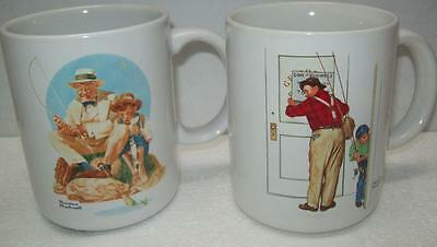 NORMAN ROCKWELL Pair Coffee Mugs Cups MUSEUM COLLECTION Fishing Theme FISH RODS