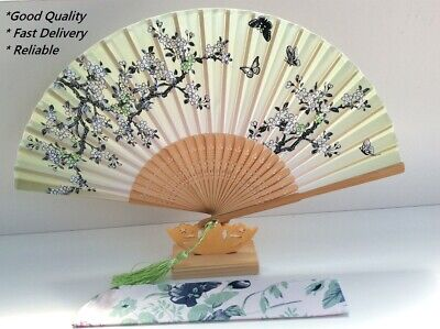 Japanese Silk Hand Fan - Cherry blossom n Sakura with Silk Fan Holder SSF012