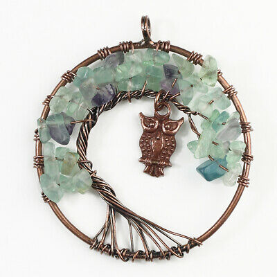 Fluorite Gemstones Chips Beads Round Tree of Life Chakra Copper Owl Pendant