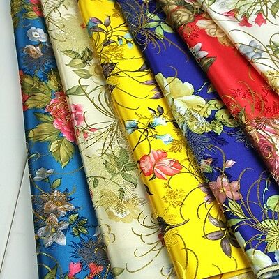 Damask Chinese Embroidery Flower Brocade Silky Satin Fabric Jacquard Blossom New