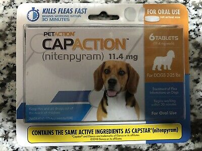 PetAction CapAction for Dogs 2-25lbs Flea Treat(compare to Capstar)6Tablets