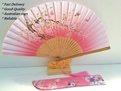 Japanese Silk Hand Fan - Cherry blossom n Sakura with Silk Fan Holder SSF015