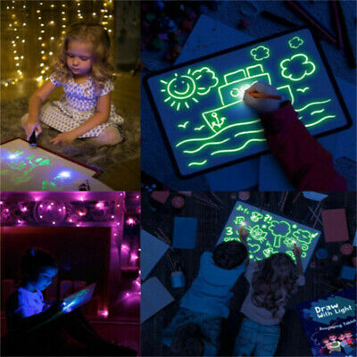 A5 Light Up Drawing Board Draw Sketchpad Board Kids Developing Toy Gift & Pen