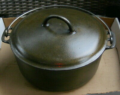 Vintage Griswold Erie No. 9 Slant Large Block Logo Cast Iron Dutch Oven w/lid