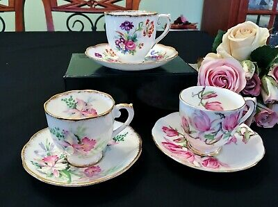 Three Exquisite Bone China Demitasse Cups & Saucers Roslyn China Made in England